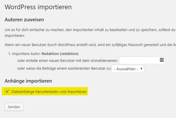 WordPress Importieren